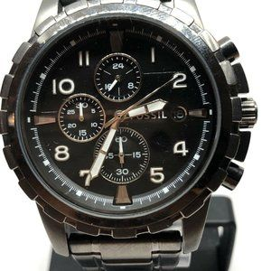 Fossil Mens Stainless Steel Black Dial Watch KG498